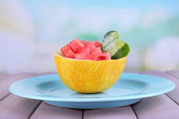 Slices of watermelon in melon bowl