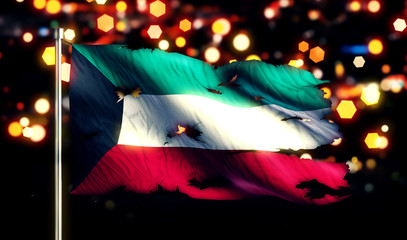 Kuwait National Flag Torn Burned War Freedom Night 3D
