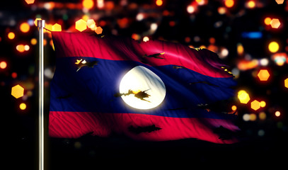 Laos National Flag Torn Burned War Freedom Night 3D