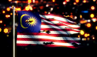 Malaysia National Flag Torn Burned War Freedom Night 3D
