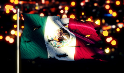 Mexico National Flag Torn Burned War Freedom Night 3D