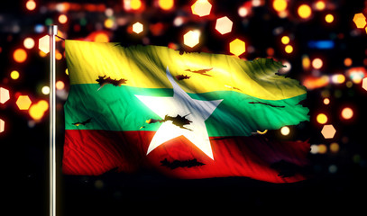 Myanmar National Flag Torn Burned War Freedom Night 3D