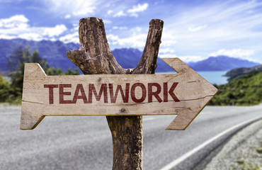 Teamwork wooden sign with a street background