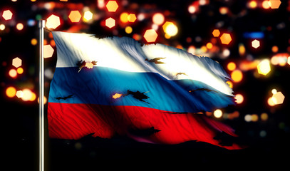 Russia National Flag Torn Burned War Freedom Night 3D