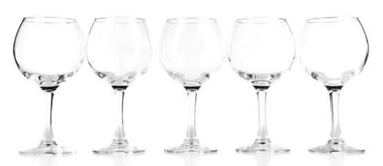 Empty wine glasses isolated on white