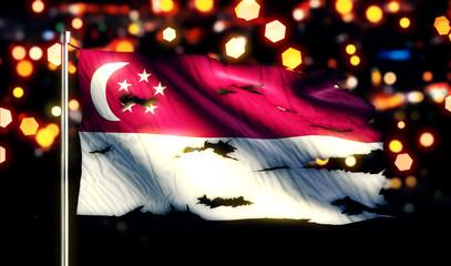Singapore National Flag Torn Burned War Freedom Night 3D