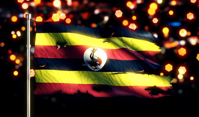 Uganda National Flag Torn Burned War Freedom Night 3D