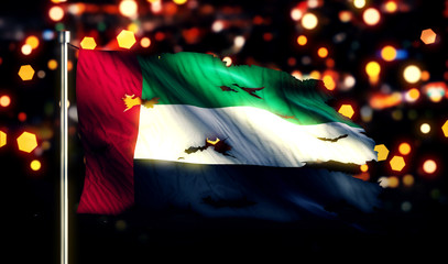 United Arab Emirates National Flag Torn Burned War Freedom 3D