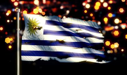 Uruguay National Flag Torn Burned War Freedom Night 3D