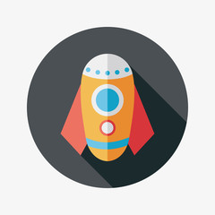 Rocket flat icon with long shadow,eps10
