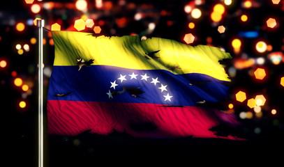 Venezuela National Flag Torn Burned War Freedom Night 3D