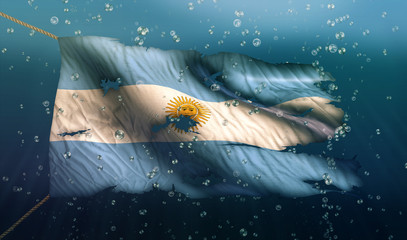 Argentina Under Water Sea Flag National Torn Bubble 3D