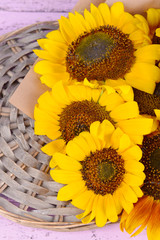 Beautiful sunflowers on wicker stand on table close up