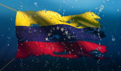Venezuela Under Water Sea Flag National Torn Bubble 3D