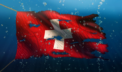 Switzerland Under Water Sea Flag National Torn Bubble 3D