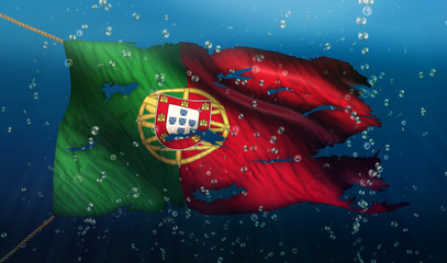 Portugal Under Water Sea Flag National Torn Bubble 3D