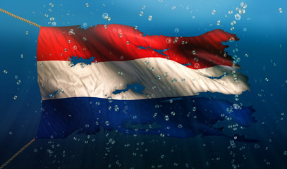 Netherlands Under Water Sea Flag National Torn Bubble 3D