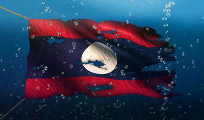 Laos Under Water Sea Flag National Torn Bubble 3D