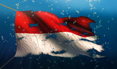 Indonesia Monaco Under Water Sea Flag National Torn Bubble 3D
