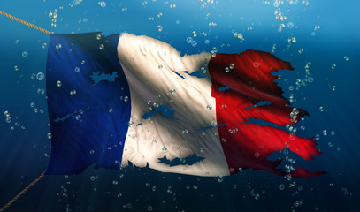 France Under Water Sea Flag National Torn Bubble 3D