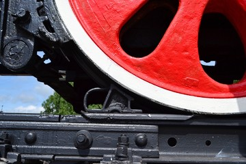 Wheel of an old steam locomotive