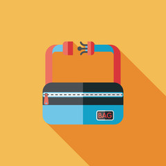 travel bag, flat icon with long shadow