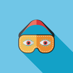 eye mask, flat icon with long shadow