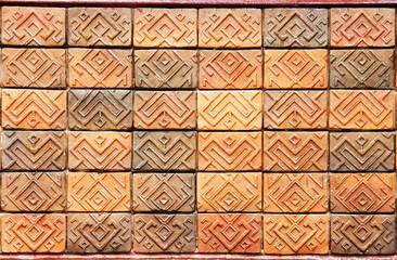 close up brown bake cray wall texture