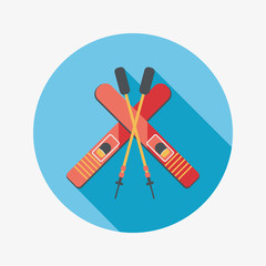 ski and sticks flat icon with long shadow