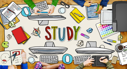 People and Study Concept with Devices