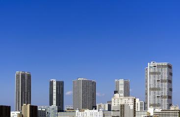 [東京都市風景]東京湾岸エリア高層タワーマンション群と(東雲)-615
