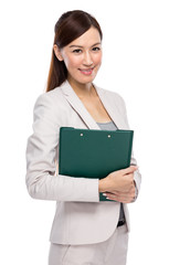 Asian young businesswoman with clipboard