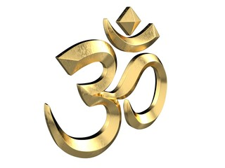 Hindu Om Icon. 3D isolated