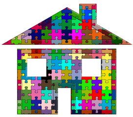 maison puzzle couleur