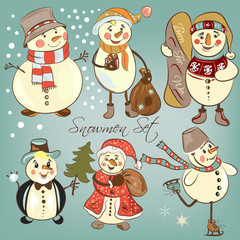 Christmas snowmen set for design