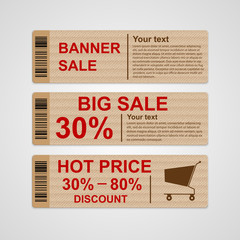 Discount sale banners. Vector illustration.