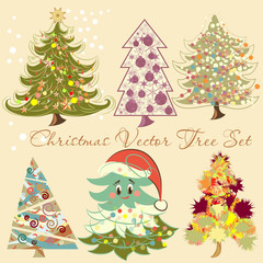 Christmas vector tree set for design