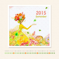 Calendar for september 2015 with girl, watercolor painting