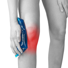 Acute pain in a woman knee.