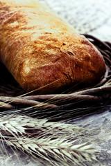 Fresh baked bread ciabatta with wheat