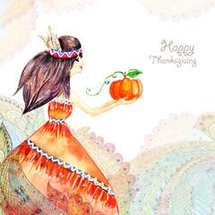 watercolor greeting card. Girl in flowers
