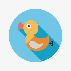 Duck toy flat icon with long shadow,eps 10