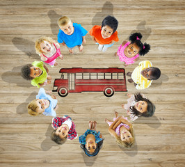 Multiethnic Children with Back to School Concept