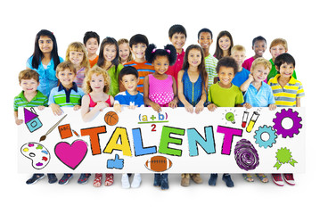 Group of Diverse Children Holding the Word Talent