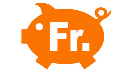 button piggy bank in orange with franken symbol - franken6 g1198