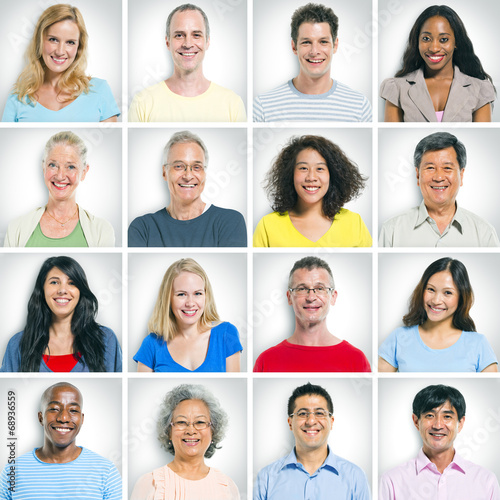 canvas print picture Portraits of Multiethnic People in Casual Cloths