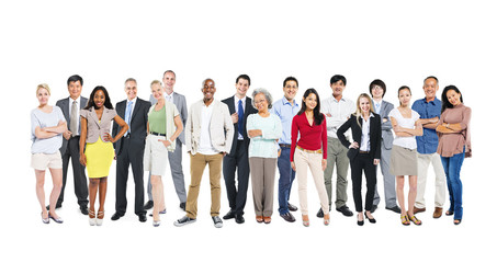 Group Of Multi-Ethnic And Diverse Occupational People In A White