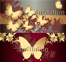 Collection of invitation cards with butterflies
