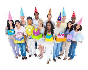 Group of Diverse People with Party Hats and Gifts