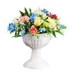 Bouquet from flowers in vase isolated on white background.